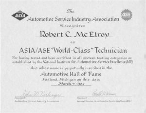 "Automotive Hall of Fame ""World Class Technician"""