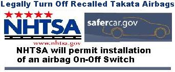 NHTSA Airbag On-Off Switch