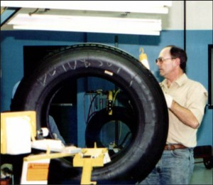 Post-vulcanization final inspection of commeercial vehicle tire.